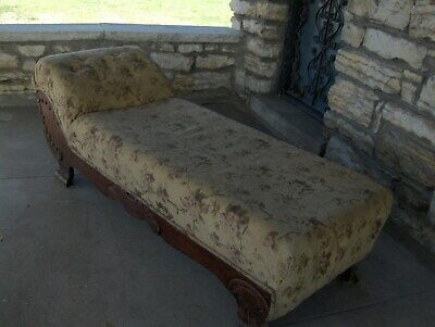Vtg Antique Fainting Couch Sofa Chaise Carved Wooden Legs Original Circa 1900