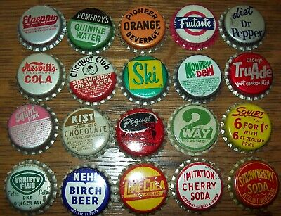 Lot of 20 different Vintage Unused Soda Pop Bottle Caps Ski 2 Way Kist  Pequot C