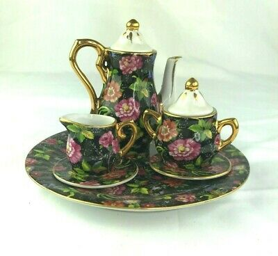 6 Pc Miniature Tea Set Floral
