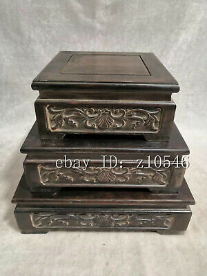 """9.2"""" Chinese antiques Blood Sandalwood Hand-carved Square base Three-piece suit"""