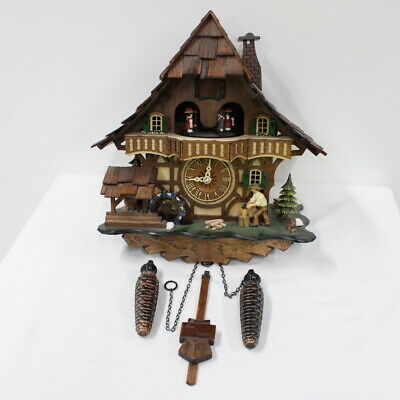 Chalet Style Wooden Cuckoo Clock Made In Germany Battery Operated #940