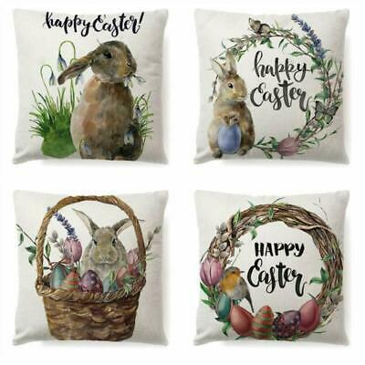 LYNKO Happy Easter Spring Throw Pillow Covers Eggs Bunny Rabbits Flowers Decorat