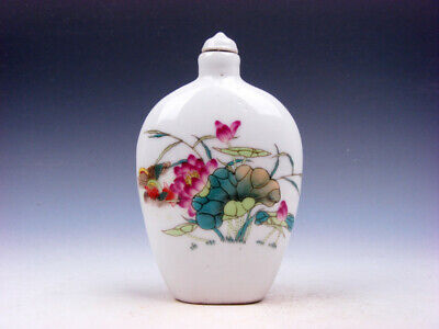 Famille-Rose Glazed Porcelain LARGE Snuff Bottle Mandarin Ducks Lotus #03222001