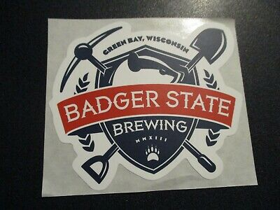 BADGER STATE BREWING Green Bay Wisconsin logo STICKER decal craft beer brewery