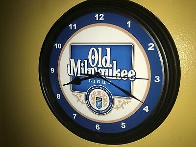 Old Milwaukee Light Beer Bar Man Cave Advertising Black Wall Clock Sign