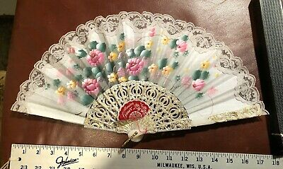 Vintage Abanicos Giner Spanish Hand Painted Folding Fan Artist Signed Spain NOS