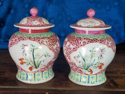Pair antique/vintage porcelain Chinese famille rose porcelain mirrored vases