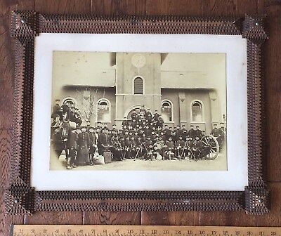 c1890 Prussian German SOLDIERS Group Albumen Photo Black Forest TRAMP ART Frame