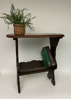Vintage Arts and Crafts Mission Style Magazine Book Stand Side Table Display