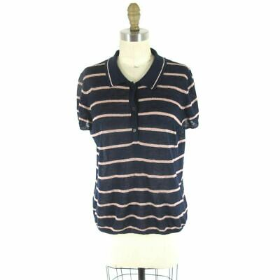 L - Reformation Navy Blue & Pale PInk 100% Linen Striped 90's Polo Shirt 0000MB