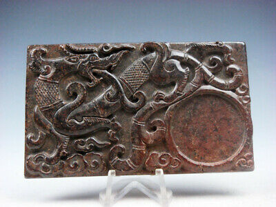 Vintage Nephrite Jade Stone Ink Slab Shaped Paperweight Furious Dragon #08191912