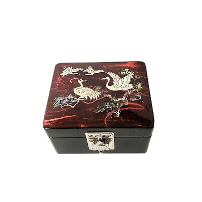 VTG Black Lacquer Asian Jewelry Box Inlaid Mother of Pearl Cranes Turtle Latch