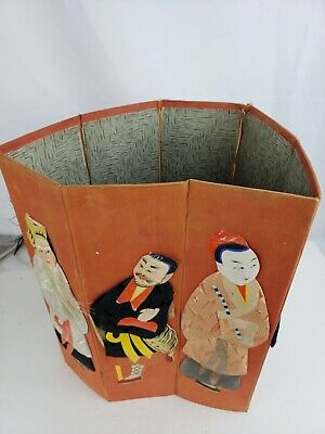 Great rare Silk & Paper Asian Chinese Folding Waste Paper Basket