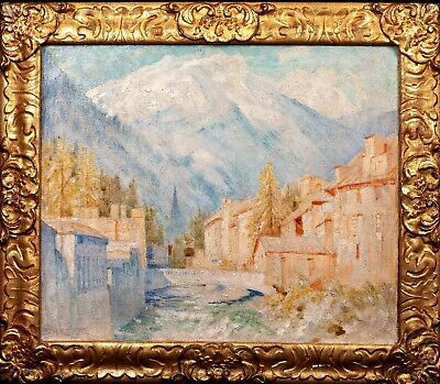 Large Early 20th Century France Cauterets Pyrenees Town Landscape Signed