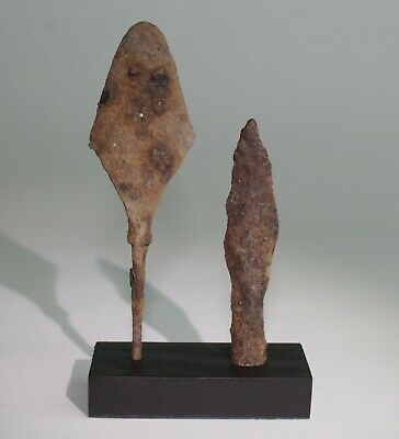 2 x ANCIENT VIKING IRON ARROW HEADS - DATING CIRCA - 9th Century AD    (110)