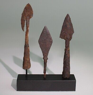 3 x ANCIENT VIKING IRON ARROW HEADS - DATING CIRCA - 9th Century AD    (113)