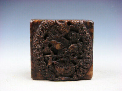 Old Nephrite Jade Stone Carved Seal Paperweight Dragon & Ancient Coins #03232008
