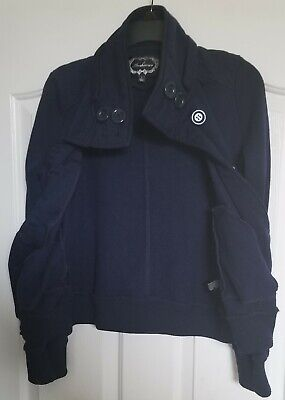 Ambiance Girls Navy Blue Pea Coat Size Large Detachable Hat Cotton/Polyester