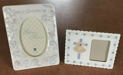 Two Porcelain Photo Picture Frames Baby's Christening Baptism - READ