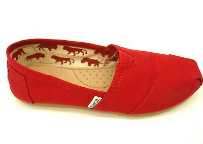 New Toms Classic Red US 7 EU 37.5 Canvas Slip On Casual Womens Flats