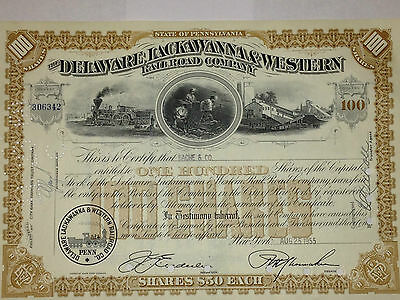 Delaware, Lackawanna & Western Railroad authentic stock certificate