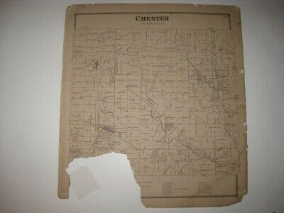 Antique 1873 Chester Township New Pittsburg Wayne County Ohio Handcolored Map Nr