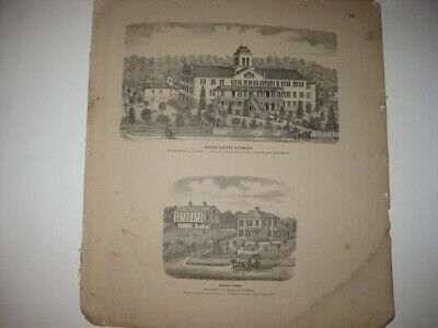 Antique 1873 Wooster Chippewa Township Wayne County Ohio Lithograph Print Rare