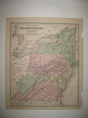 Antique 1873 New York Jersey West Virginia Maryland Delaware Handcolored Map Nr