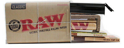 RAW Rolling Papers 1 1/4 Cigarette Tin Classic and Organic Hemp + Roller+Tube