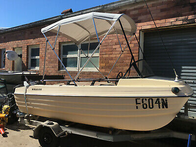 Markham Whaler 3.8 mtr F/glass, 35HP Elec Start Tohatsu, Unreg Gal Trailer.