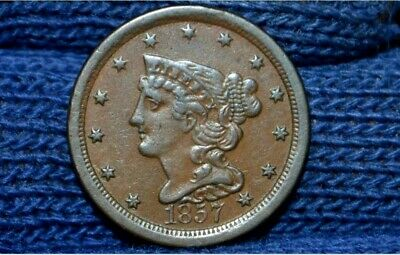 1857 HALF CENT ** XF++ / AU ** CHOICE BROWN **Take 5% Off Right Now