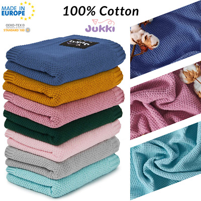 100% COTTON Cellular Soft BABY BLANKET Cot Pram Moses Basket 80x100cm MADE IN EU