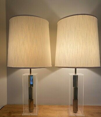 Vintage Mid Century Modern Lucite Table Lamps Modernist  Brass Acrylic Laurel