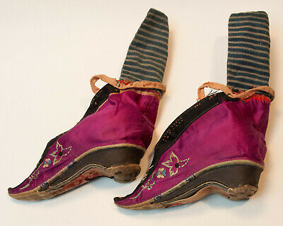 Antique 19th Century Chinese Embroidered Lotus Shoes