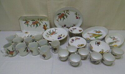 Royal Worcester Evesham China Set Plates Cups Saucers, Serving Dishes 40 Pc Lot