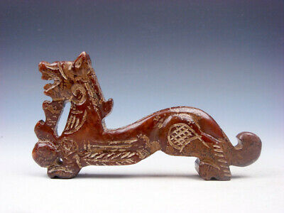Old Nephrite Jade Stone Carved Sculpture Walking Dragon & Pearl Ball #09191905