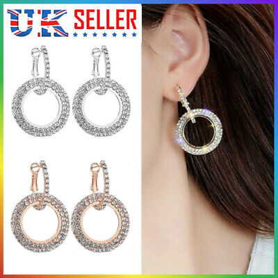 925 Silver Rose Gold Crystal Round Hoop Earrings Womens Jewellery Party