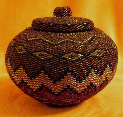 Beaded Wicker Basket Trinket Box - Bedside Or Dressing Table - African Style