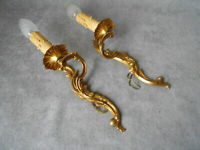 1930s PAIR vintage French bronze WALL Light SCONCES
