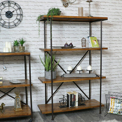 Tall metal wood shelving bookcase unit retro industrial living room hallway home