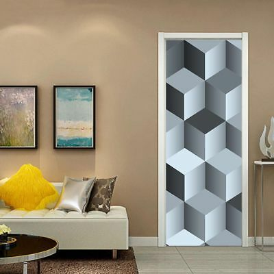 3D Cubes Self Adhesive Living Room Door mural Stickers Peel and Stick Wallpaper