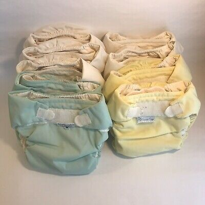 All In One (AIO) Cloth Diapers Unbleached 100% Cotton Size Medium (Lot of 8).