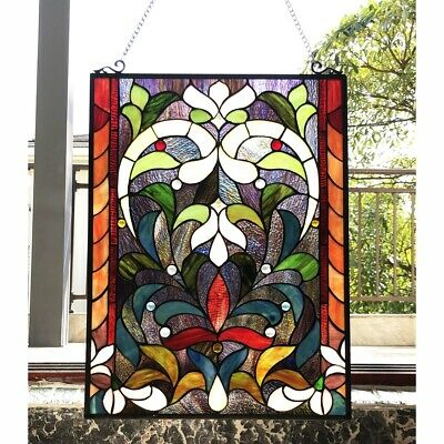 """Window Panel Victorian Stained Cut Glass Tiffany Style 18"""" X 24""""   Colorful"""