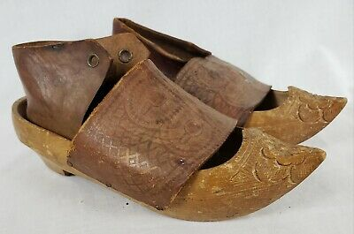 1918 Pair FRENCH SABOTS Hand Carved Wooden CHILD'S SHOES Leather Tops WWI Era