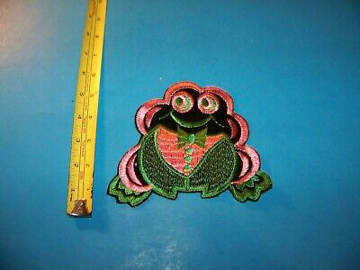 "Frog ""Pink & Green""  Large Embroidered Patch  Vintage 1980's"