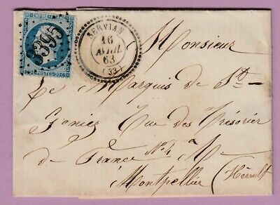 N°22 Gc 3395 Cad Type 22 Servian Herault Montpellier Lettre Cover