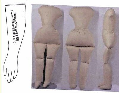 """15""""Antique Greiner China Head/Parian Doll Cloth Body Leather Arms/Hands Pattern"""