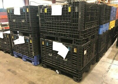 "Heavy Duty Orbis Style Plastic 48"" x 45"" x 34"" Tall Collapsible Gaylord Crates"