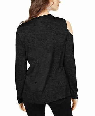 INC Womens Cut-Out V-Neck Long Sleeve Top Black Size Large L