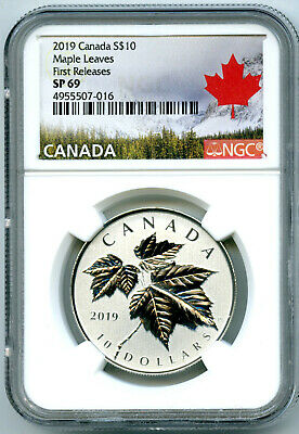 2019 Canada $10 1/2Oz .9999 Silver Ngc Sp69 Maple Leaf Leaves First Releases
